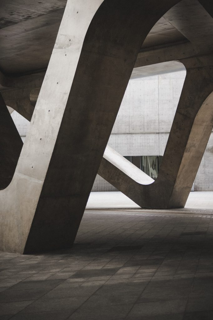 Concrete pillars supporting and elevating