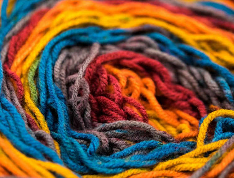 Image of colourful wool wrapped up together